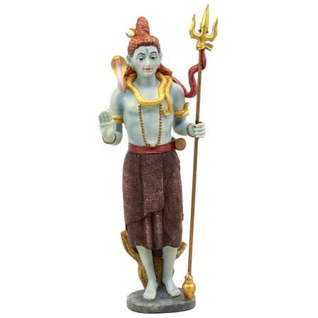 Ebros The Auspicious One Blue Avatar Shiva Wearing Cobra Necklace Statue Mahadeva Omniscient Yogi With Cobra Snake Figurine Home Decor Statue