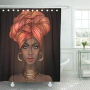 PKNMT African American Pretty Girl Raster Black Woman Glossy Lips Turban Great Bathroom Shower Curtain 66x72 inch