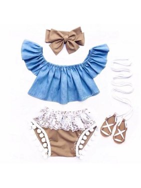 Infant Newborn Baby Girl Fly Sleeve Denim Top Lace Shorts Clothes Outfit 3Pc