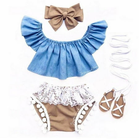 Infant Newborn Baby Girl Fly Sleeve Denim Top Lace Shorts Clothes Outfit 3Pc (Infant Girls Denim)