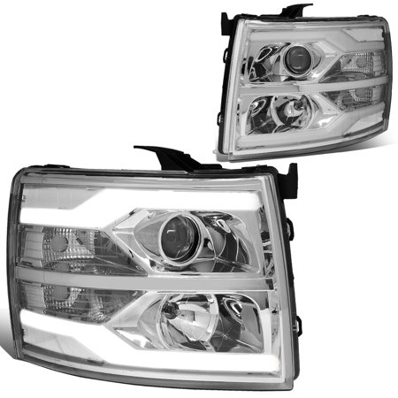 For 2007 to 2014 Chevy Silverado Dual LED DRL Strip Projector Headlight Chrome Housing Clear Side Headlamp 08 09 10 11 12 13 1500 2500 3500