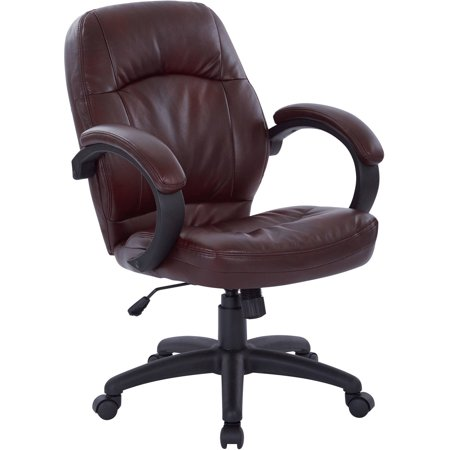Office Star Deluxe Black Faux Leather Managers Chair With Padded Arms Multip