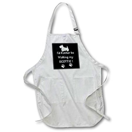 3dRose Walking With Scottie, Medium Length Apron, 22 by 24-inch, With Pouch Pockets