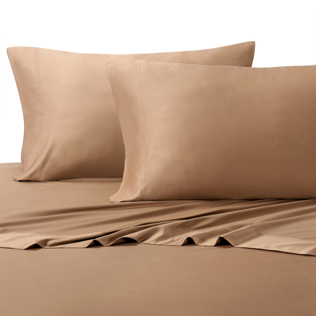 Egyptian Bedding 100% Egyptian Cotton 300 Thread Count 3 Peice Bed Sheet Set, Taupe Solid, Twin Size
