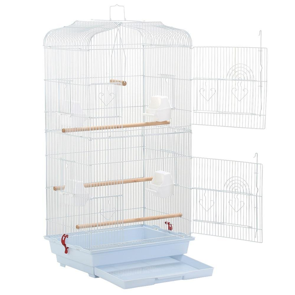 Large Metal Bird Cage for Budgie, Parrot, Canary & Cockatiel 18x14x36 Inches (White) by Yaheetech