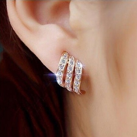 Rose Wedding Earrings (Outtop Rose Gold Diamond-studded Personality Stud Earrings for Women Wedding Jewellery )