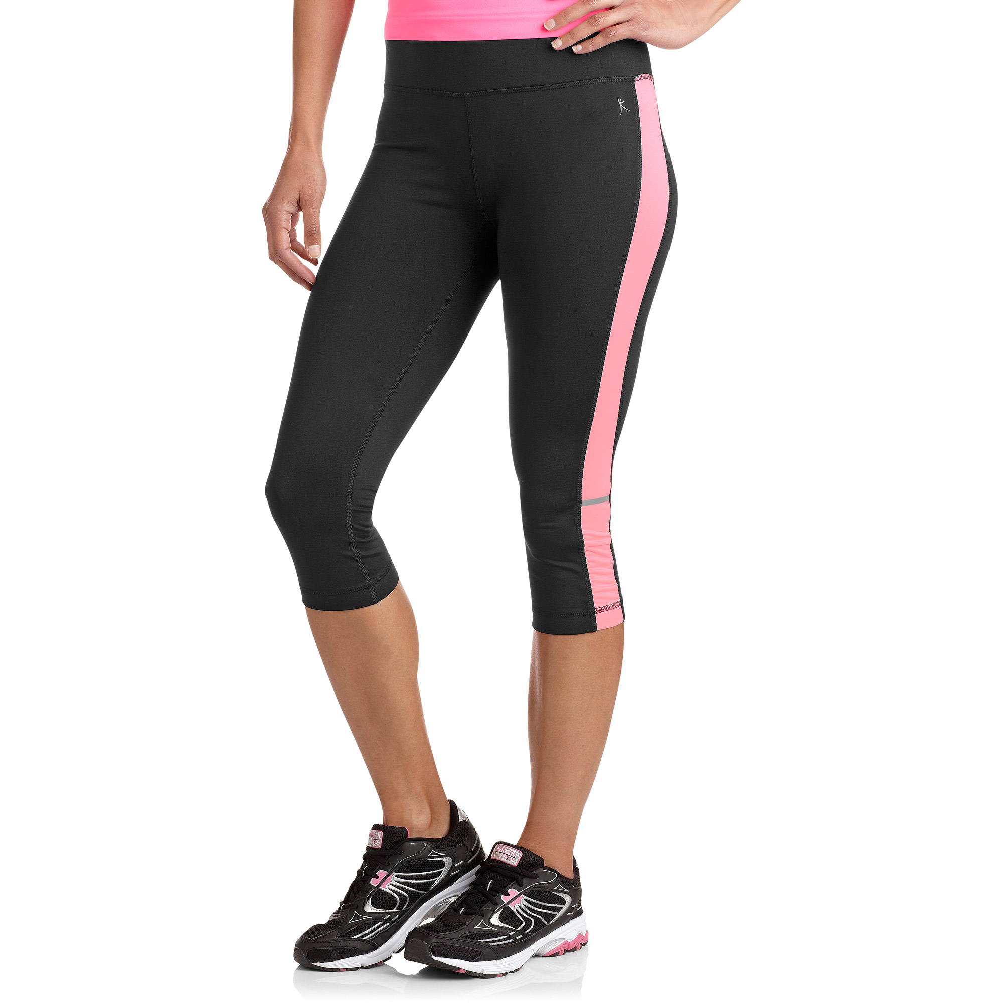 """Danskin Now Women's 17"""" Sport Capri Tight with Side Color Accent and Bottom Shirring"""