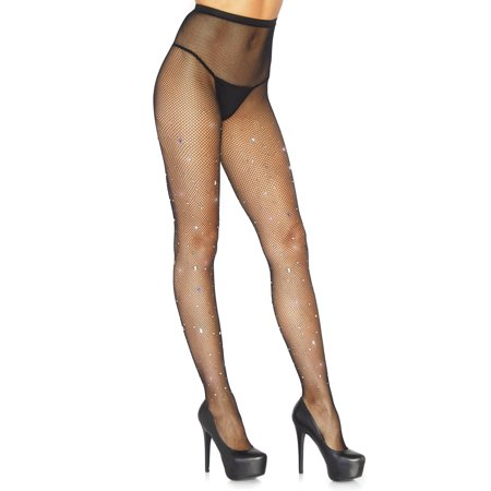 Leg Avenue Womens Crystalized Fishnet Tights with Multicolor Gem & Rhinestone Accents (Leg Avenue Fishnet Tights)