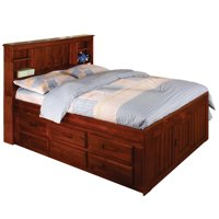 American Furniture Classics Model 2821-12-BCM, Solid Pine Bookcase Headboard Full Captains Bed with 12 Underbed Drawers in Merlot