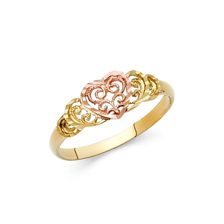 Ladies 14K Solid Yellow Gold 7mm Two Tone Fancy Designed Heart Ring, Size 4 (Yellow Gold Fancy Ring)