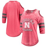 Nebraska Cornhuskers Pressbox Women's Vintage Wash Cold Shoulder Raglan 3/4-Sleeve T-Shirt - Scarlet