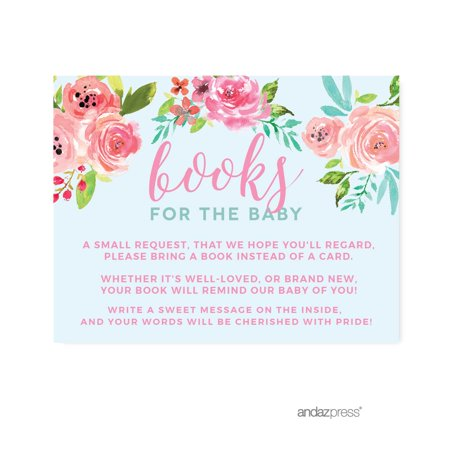 Baby Shower Pink Roses English Tea Party, Books for Baby Request Cards, 20-Pack, - Baby Shower Book