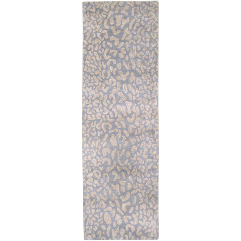 2.5' x 8' Les Animaux Dove Gray and Safari Tan Cheetah Wool Runner Area Rug