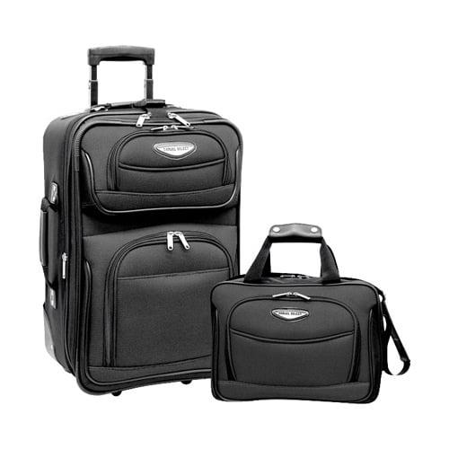 "Traveler's Choice Amsterdam 2-Piece Carry-On Luggage Set  15"" x 11"" x 6""; 21"" x 14"" x 8"""
