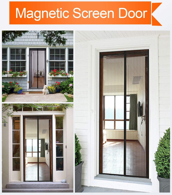 Cnmodle Hands Free Mesh Magnetic Screen Door 32 X 83 Fit Doors
