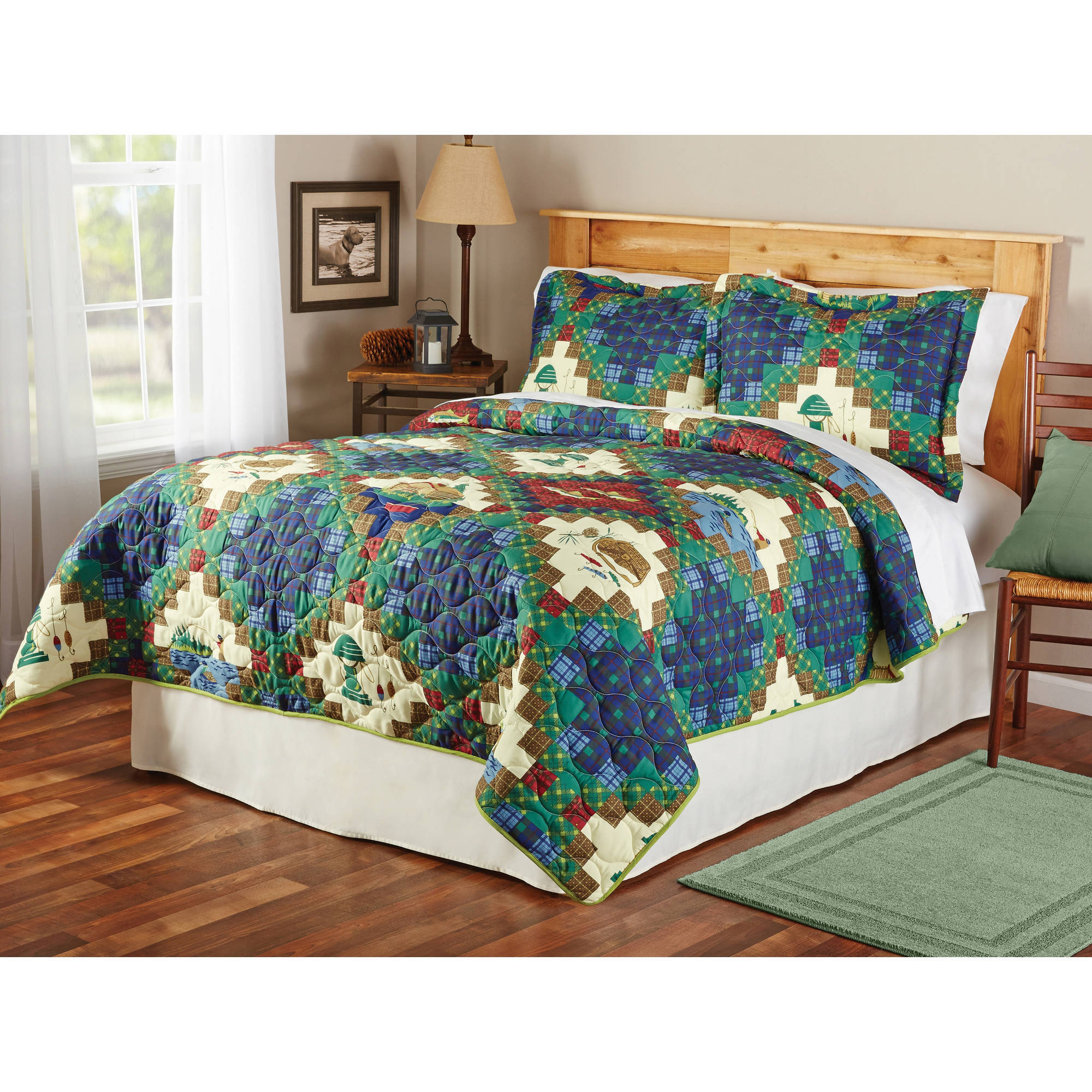 Mainstays gone fishing quilt sham twin king size for Bedroom nothing lasts chords