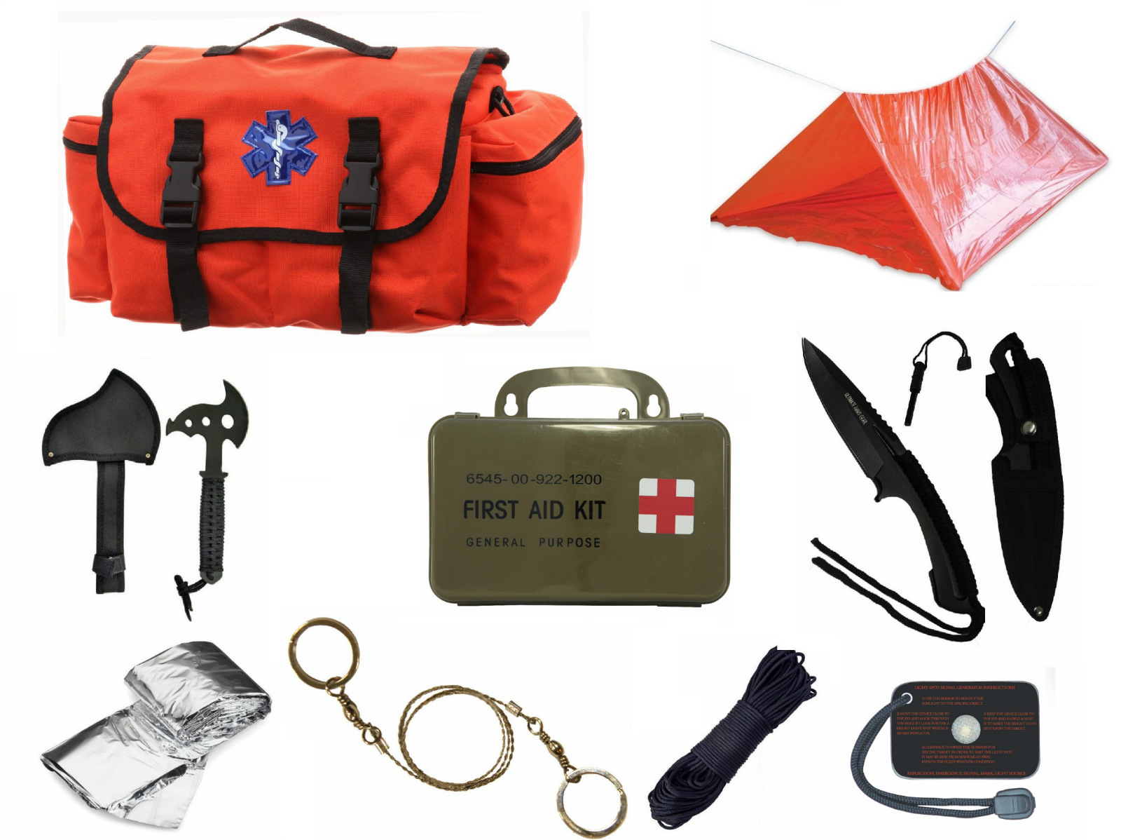 Click here to buy Ultimate Arms Gear Deluxe Orange Emergency Survival Rescue Bag Kit; Signal Mirror, Polarshield Blanket, Knife Fire....
