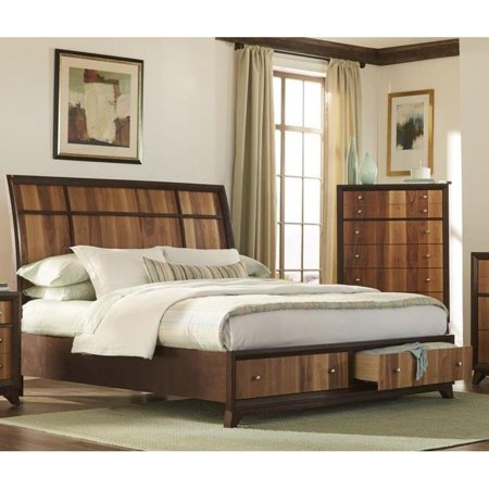 LYKE Home Ace Two-Tone Brown & Natural Storage Platform Bed ...