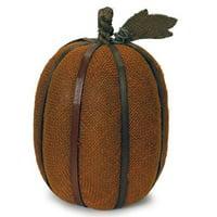 "12"" Autumn Harvest Bronze Burlap Pumpkin with Bamboo Thanksgiving Fall Decoration"
