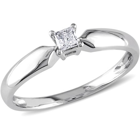 Miabella 1/10 Carat T.W. Princess Cut Diamond Solitaire Ring in 10kt White Gold