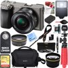 Sony Alpha a6000 24.3MP Wi-Fi Mirrorless Digital Camera + 16-50mm Lens Kit (Grey) + 64GB Accessory Bundle + DSLR Photo Bag + Extra Battery+Wide Angle Lens+2x Telephoto Lens +Flash +Remote +Tripod Compact and Lightweight Mirrorless DSLR The a6000 is a super-compact mirrorless camera that's about half the size and weight of a typical DSLR, yet it has the same size APS-C sensor as most DSLRs. The interchangeable lenses and E-mount system make the a6000 more versatile than almost any other camera on the market. High Resolution 24MP APS-C Sensor Get incredible detail and gorgeous enlargements thanks to the newly developed 24.3 megapixel Exmor APS HD CMOS sensor. It has higher resolution than most DSLRs and adopts the same gapless on-chip lens structure as the a7R for ultimate image quality and light sensitivity. Better Images through BIONZ X Processing The BIONZ X image processor faithfully reproduces textures and details in real time via extra high-speed processing capabilities delivering true-to-life images - as seen by the naked eye. It enables greater natural detail, richer tonal gradations, lower noise and more realistic images whether you shoot stills or video. Ultra-fast Response Capture the perfect moment- the a6000 realizes 11 frames per second continuous shooting with AF (Auto Focus) tracking by making the most of the wide-area 179-point phase-detection AF sensor. Even when dealing with a moving subject the a6000's superb moving-subject tracking performance ensures you get the shot during still or video capture. Easy and Intuitive Controls Despite its small size, the a6000 gives you full DSLR control and immediate access to the functions you need to shoot like a pro. Two dials on top and a rear-mounted control wheel allow quick selection of shooting modes and camera settings. In addition to the Fn button, there's seven customizable buttons, which can be assigned any of 47*4 functions. Instantly Connect via NFC and Wi-Fi Wi-Fi connectivity allows you to control 