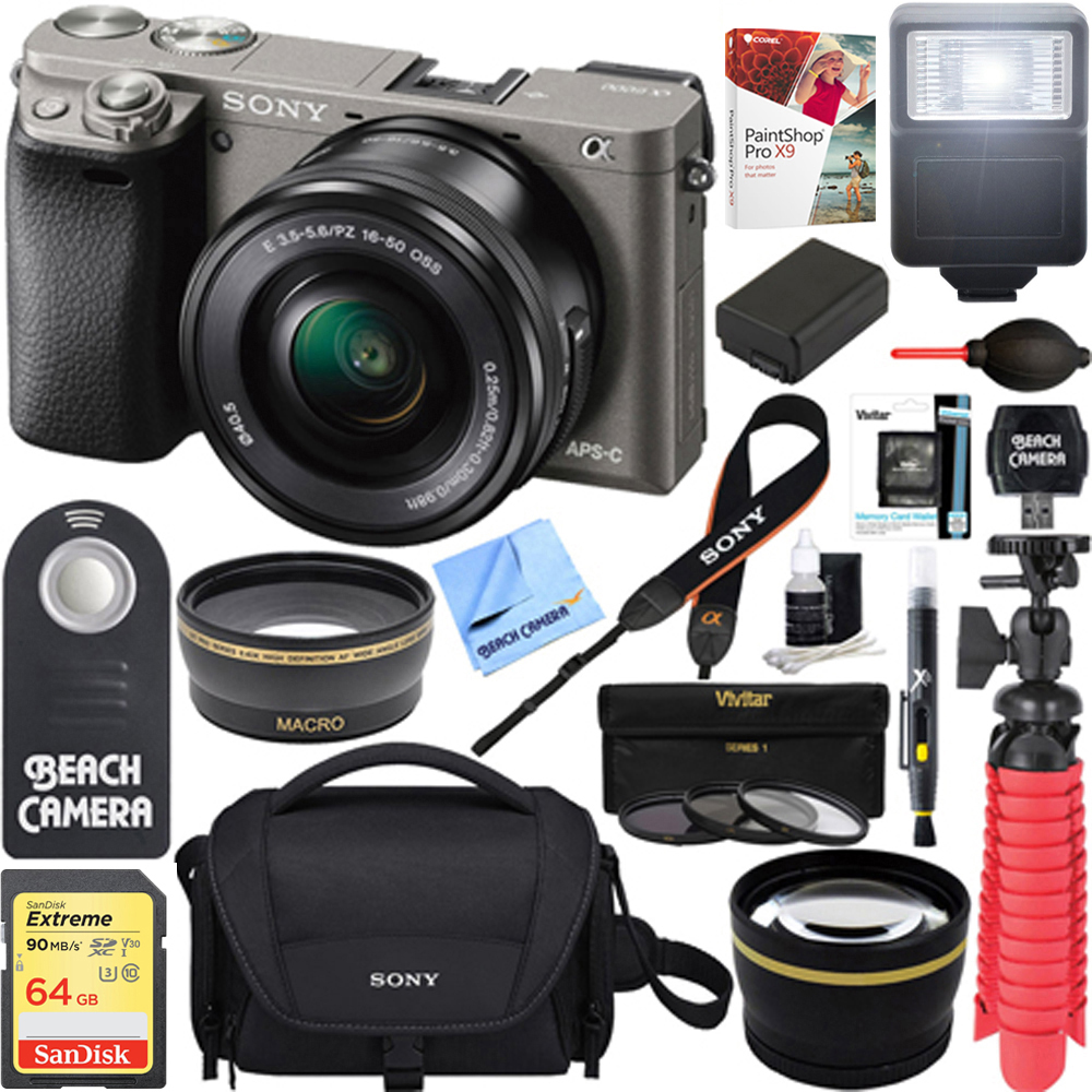 Sony Alpha a6000 24.3MP Wi-Fi Mirrorless Digital Camera + 16-50mm Lens Kit (Grey) + 64GB Accessory Bundle + DSLR Photo Bag + Extra Battery+Wide Angle Lens+2x Telephoto Lens +Flash +Remote +Tripod
