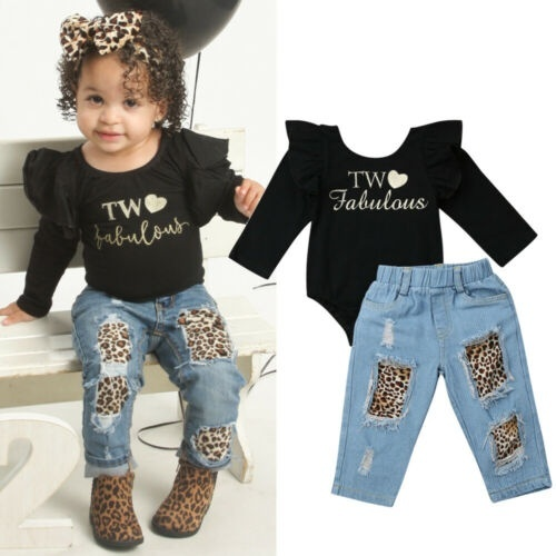 New Newborn Baby Girl Clothes Ruffle Romper Leopard Pants Leggings Outfit Autumn