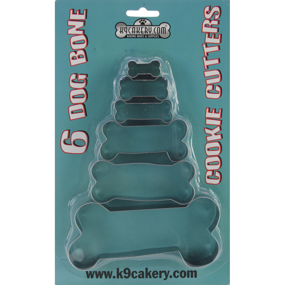 K9 Cakery Cookie Cutters, Bone Shaped, 6/pkg