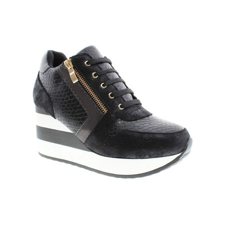 15282048a372 Moca High Wedge Sneaker Women s Casual Faux Leather Snake Print Lace ...