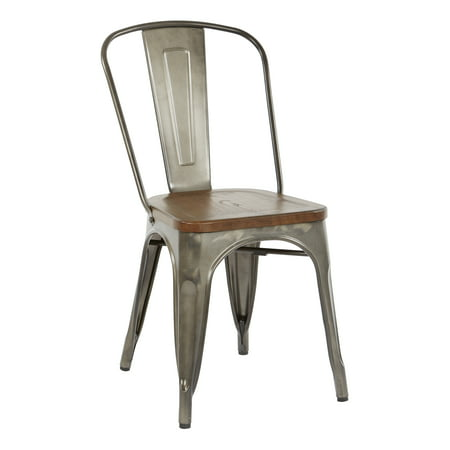 (OSP Designs Indio Metal Chair with Vintage Ash Walnut Wood Seat and Matte Gunmetal Frame 4-Pack)