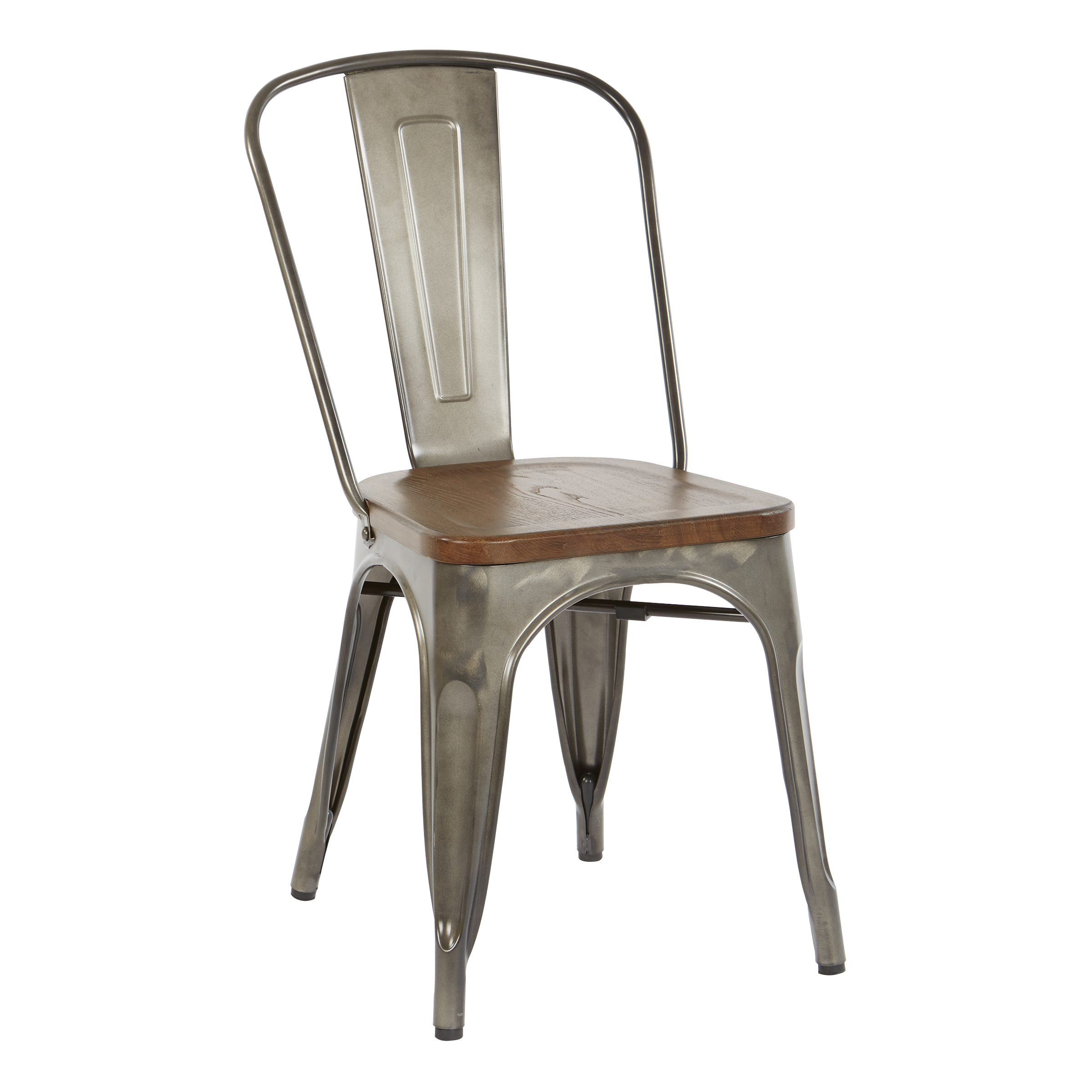 OSP Designs Indio Metal Chair with Vintage Ash Walnut Wood Seat and Matte Gunmetal Frame 4-Pack