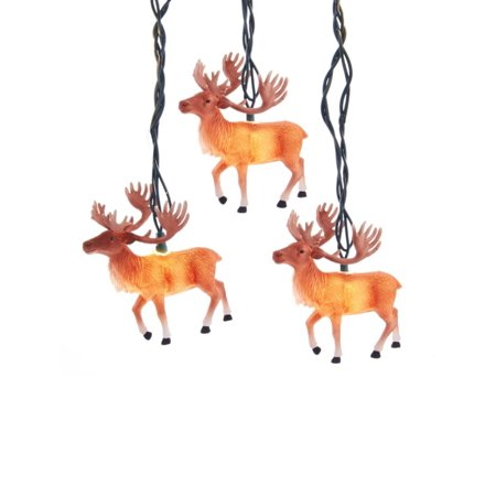 Set of 10 Reindeer with Antlers Novelty Christmas Lights - Green Wire (Reindeer Antlers For Horses)