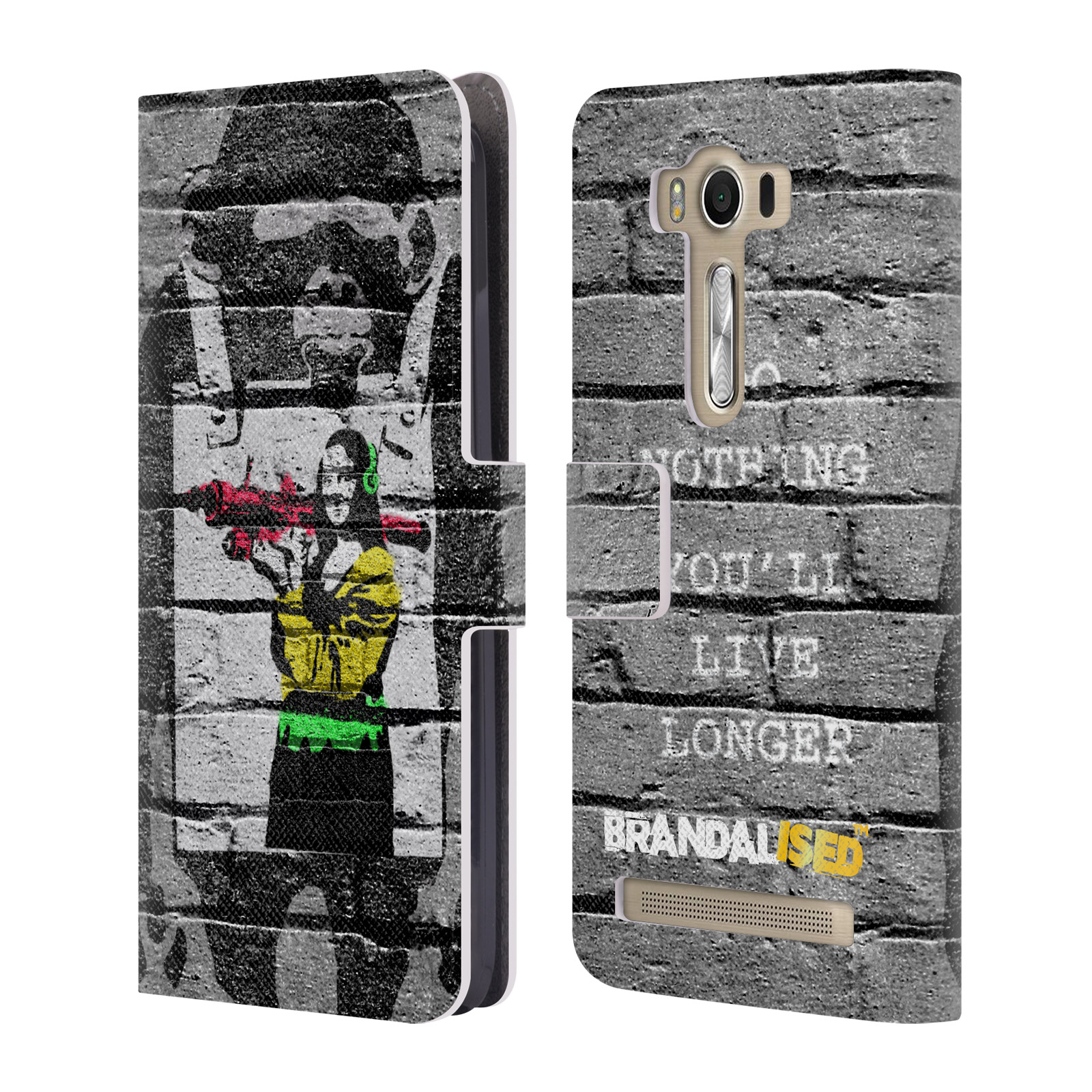 OFFICIAL BRANDALISED BANKSY COLOURED ART LEATHER BOOK WALLET CASE COVER FOR ASUS ZENFONE PHONES