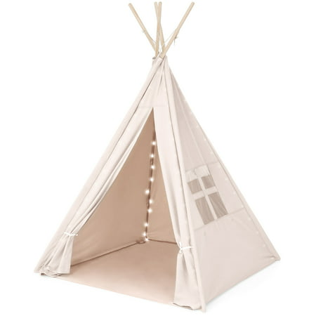 Best Choice Products 6ft Kids Cotton Canvas Indian Teepee Playhouse Sleeping Dome Play Tent w/ Lights, Carrying Bag, Mesh Window - White