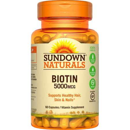 Biotic Capsules (Sundown Naturals High Potency Biotin 5000mcg Capsules, 60 count )