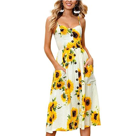 DYMADE Women's Summer V-Neck Spaghetti Strap Button Down Floral Bohemian Swing Midi Dress with Pockets
