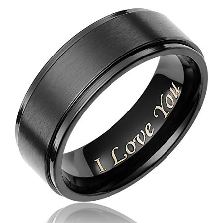 Mens Wedding Ring Black Titanium 8Mm Band Engraved     I Love You
