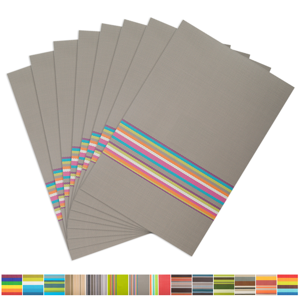 Aspire 8PCS Rainbow Stripe Placemats Heat Insulation-V Grey by
