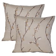 FHT Calico Flax 17-inch Throw Pillows (Set of 2)