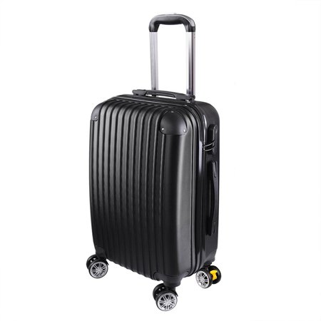 """Globe House Products GHP 210D Polyester ABS Shell 360°-Rotating Wheels Black 20"""" Trolley Case Luggage Bag"""