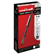 Uni-ball Vision Needle Rollerball Pens, Micro Point (0.5 mm), Black, 12 Count