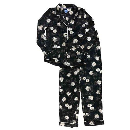 Womens black floral print fleece button top pajamas white flower womens black floral print fleece button top pajamas white flower sleep set small mightylinksfo