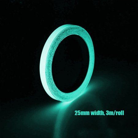 3m/Roll 25mm Self-adhesive Luminous Tape Glow in the Dark High Bright DIY Handmade Safety Warning Signs Tape Home Stage Decorations ()