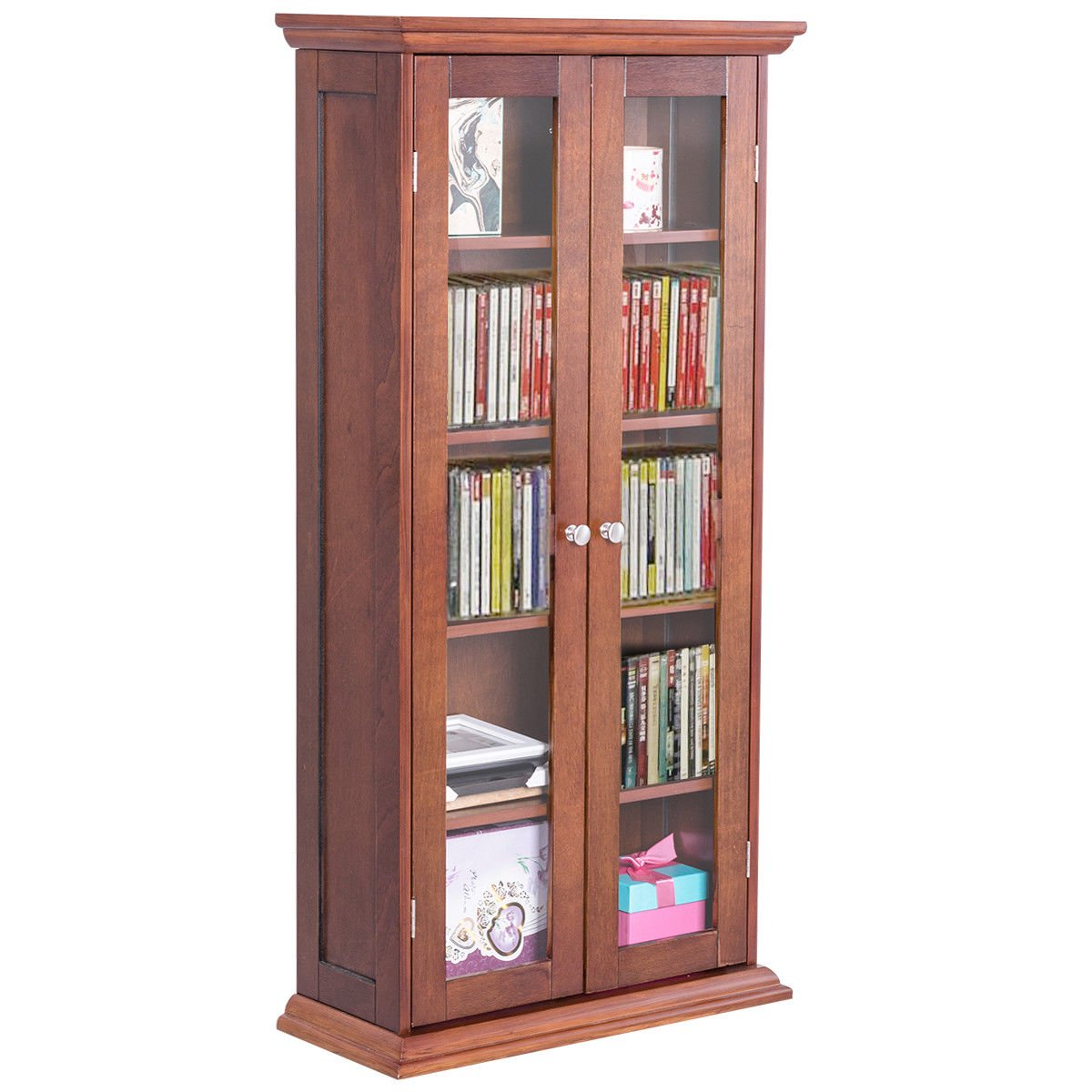 Costway 44.5u0027u0027 Wood Media Storage Cabinet CD DVD Shelves Tower Glass Doors  Walnut