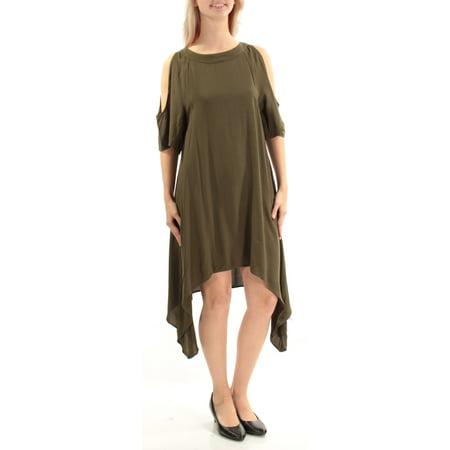 Length Cut Out - CHELSEA SKY Womens Green Cut Out Short Sleeve Jewel Neck Tea Length Trapeze Dress  Size: S