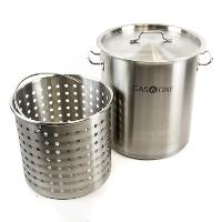 Gas One Fryer Pot 32 QT - All Purpose - Stainless Steel Tri Ply Bottom with All Purpose Pot Deep Fryer Steam and Boiling