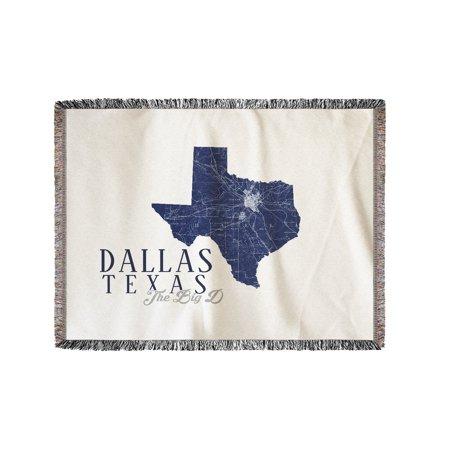 Dallas, Texas - Map & City - State Outline - The Big D - Lantern Press Artwork (60x80 Woven Chenille Yarn Blanket)