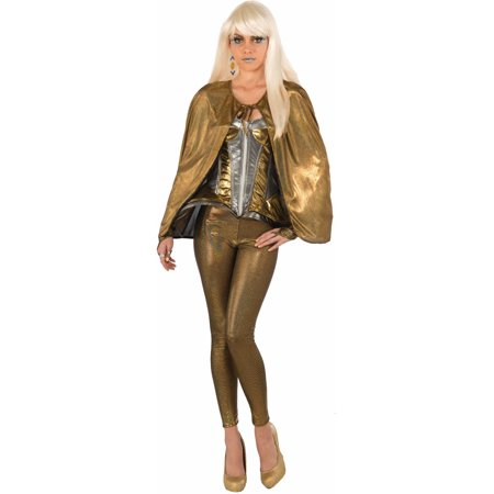 Womens Gold  Fantasy Superhero Robot Short Cape Costume Accessory (Womens Super Hero Costume)