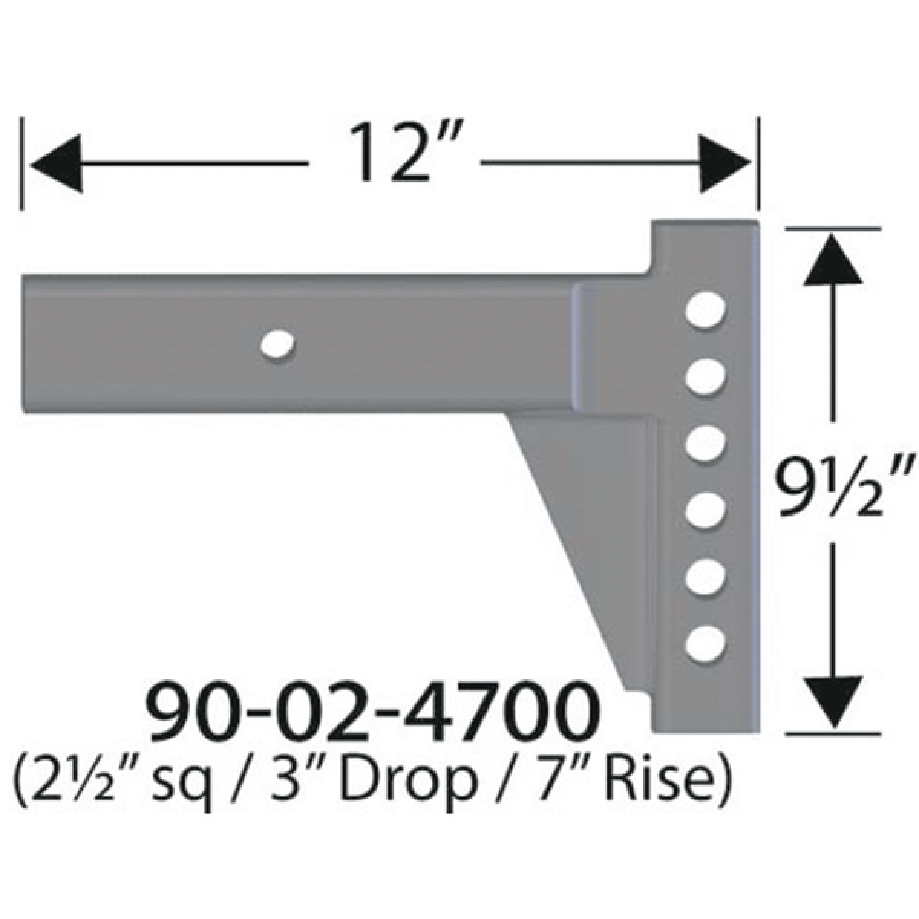 "Progress Mfg 90-02-4700 Equal-i-zer 2-1/2"" Adjustable RV Shank - 3"" Drop, 7"" Rise & 12"" Length"