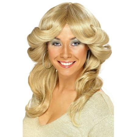 1970s Style Farrah-flip Blonde Flick Wig Women's Costume (1970's Costume Accessories)